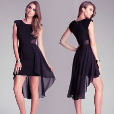 Women Black Dovetail Chiffon Dress Gauze Patchwork Back Zipper Sexy Party Dress
