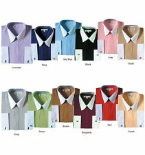 New Men's Stylish  French Cuff Dress Shirt  TwoTone 10 + Colors M to 4X New 03F2