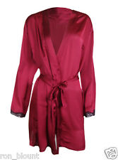 ROUGEGORGE CERISE (RED) SATIN WITH BLACK LACE DETAIL DRESSING GOWN/ WRAP