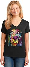 Basset Hound Womens V Neck T Shirt Neon Dogs Pets Small to 3XL Free Shipping