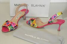 New Manolo Blahnik GELEDE 50 Pink Green Floral Sling Sandals Shoes Pumps 40.5