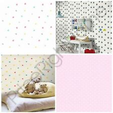 POLKA DOTS, STARS, HEARTS & ROSEBUDS DITSY KIDS NURSERY WALLPAPER NEW FREE P+P