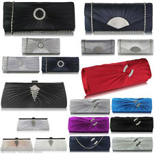 Womens Clutch Bags Ladies Satin Evening Prom Party Wedding Purse Handbags New