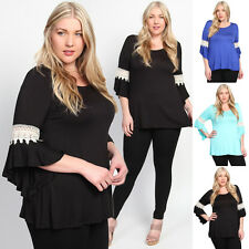 TheMogan Blouse Boho Crocheted 3/4 Bell Sleeve Stretch Jersey Tunic Top