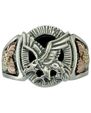 Black Hills Gold mens ring eagle onyx .925 silver whole/half size 9 10 11 12