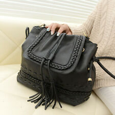 New Ladies Celebrity Tassel Bucket Bag Women Shoulder Bag Faux Leather Handbag