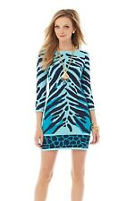 New Lilly Pulitzer Polly Sweater Shift Dress SHORELY Blue Wild Amimal Stripe S
