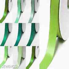 "Double Faced Satin Ribbon 3/8"" / 9mm. Wedding By 5 Yards, Lime to green"