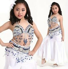 NEW KID's 3pcs set Top+Hip Belt+Fishtail Long Skirt Belly Dance Costume 8 colors