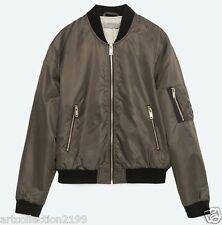 ZARA WOMAN SS 2016 QUILTED BOMBER JACKET KHAKI S_M_L REF: 8073/026