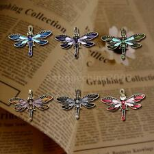 Bronze Plated Crystal Rhinestone Dragonfly Pendant Sweater Necklace Jewelry I6C7