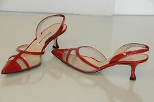 New MANOLO BLAHNIK Carolyne Red Patent PVC Kitten Heels SHOES 36 38 40
