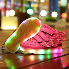 Kid Boy Girl USB Charge LED Light Up Luminous Wings Shoes Trainers Sneaker Dance