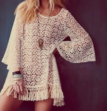 Vintage Hippie Boho Womens Bell Sleves Shirt Gypsy Festival Fringe Lace Tops