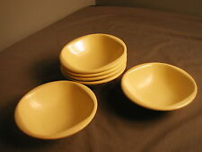 """VINTAGE BOOTONWARE PLASTIC 6 CEREAL BOWLS - 5 3/4"""" - YELLOW - USA - CA 1950s"""