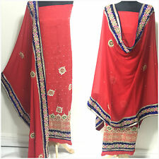 PURE Chandari Silk INDIAN PAKISTANI SALWAR KAMEEZ WEDDING SUIT MATERIAL Unstitch