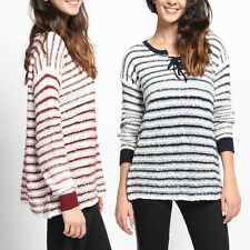 TheMogan Stripe Lace Up Crew Neck Pullover Knit Sweater Long Sleeve Top