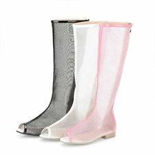 New Women Open Toe Cool Summer Knee High Mesh Boots Sweet Flats Zip Sandal Size