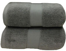 Gray 100% Cotton Solid 2PC Plush Towels, Ultra Soft Bath Sheets - Bath Towels