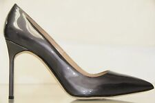 New Manolo Blahnik BB 105 Grey Metallic Patent Pumps Heels Shoes 39.5 41.5 42
