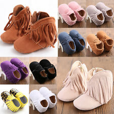 2016 Infant Boy Girl Anti-slip Sole Leather Shoes Toddler Tassel Moccasin # QGB