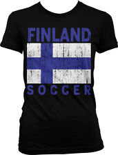Distressed Finland Soccer Flag - Suomi Finnish Pride Juniors T-shirt