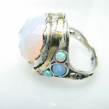 Blue Opal Birthstone & Opalite 925 Sterling Silver Ring & Gold Ring Size 7
