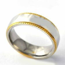 Carve pattern Yellow Gold Filled stainless steel mens Band Ring Size7 8 9 10 11
