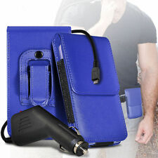 PU Leather Pouch Belt Holster Case & Car Charger For HTC Desire 320