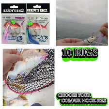 10 Snapper Rigs Fishing Snatchers Flasher Bait Lure Rig Rod Combo Reel Deal fly