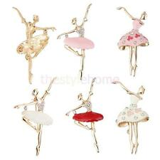1pc Ballet Dancing Girl Brooch Pin Rhinestone Alloy Gold Plated Jewelry Fashion