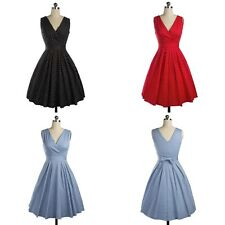 1950s 60s Vintage Hepburn Rockabilly Sexy V-Neck Pin Up Bowknot Housewife Dress