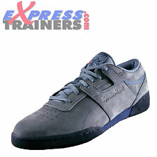 Reebok Classic Workout Lo Lux Clean Leather Mens Retro Trainers Blue Slate