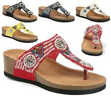 NEW WOMENS LADIES FLAT CORK MOULDED FOOTBED FLIP FLOP BEADED SUMMER SANDALS SIZE