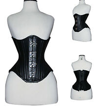 Double Steel Boned Victorian Tight Lacing Real Leather Underbust Corset Corsetto