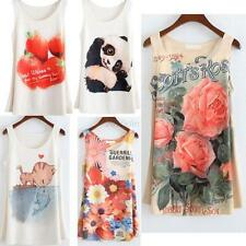 Womens Girls Fitted Sleeveless Printed T Shirt Blouse Vest Tank Top Multi-Colors