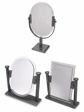 Cosmetic Make Up Table Stand Vanity Clear Frame Swivel Metal Silver Mirror