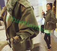 New Women Slim Drawstring Army Green Vogue Military Trench Parka Coat Jacket Hot