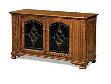 Amish Traditional Solid Wood TV Stand Console Cabinet Media Storage Leaded Glass