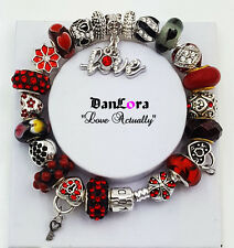 Authentic Pandora Sterling Silver Bracelet w/ European Charms, Faberge Egg, Love