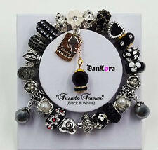 "Authentic Pandora Sterling Silver Bracelet w/ Euro Charm ""Friends Forever"" Black"