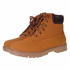 Womens Honey Tan Nubuck Leather Look Cleated Sole Flat Lace Up Ankle Boots