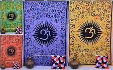 Om Printed Twin Size Cotton Bedcover Tapestry Ethnic Indian Bedspread Hippie Art