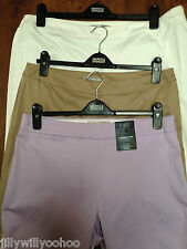 LADIES M&S SIZES 14 16 OR 18 BEIGE WHITE LILAC CROPPED TAPERED STRETCH TROUSERS