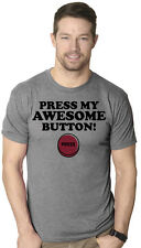 Mens Press My Awesome Button Funny Bragging I'm Awesome T shirt (Grey)