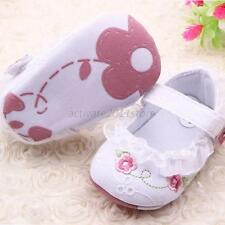 Baby Girl Casual Mary Jane Walking Shoes Floral Style Lace Trim Crib Shoes 0-12M
