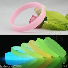 Fashion Charm GLOW IN THE DARK Silicone Rubber Wristband Wrist Band Bracelet