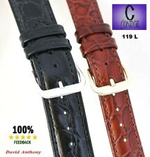 Ex Long  16mm & 20mm BLACK & BROWN Leather Watch Straps, CONDOR, Croco -  C119