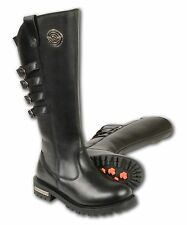 LADIES 15 Inch High Rise Leather Riding Boot W/ Four Calf Buckles