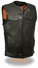 Men's SOA Leather Collarless Vest Zipper/Snap Front w/ 2 Gun Pockets